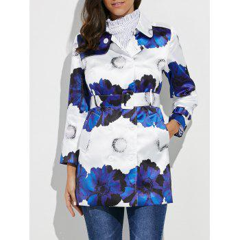 Belted Flower Print Trench Coat