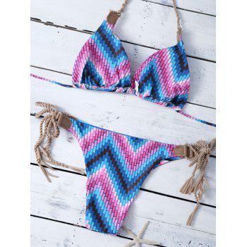 Braided Halter Striped Reversible String Bikini Set - STRIPE M