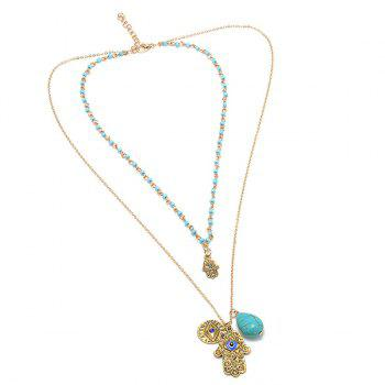 Faux Turquoise Eye Hand Layered Necklace