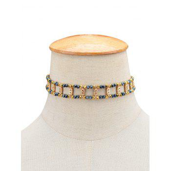 Rhinestone Beaded Necklace - GOLDEN