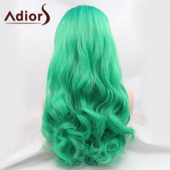 Adiors Towheaded Long Wavy Lace Front Synthetic Wig - GREEN
