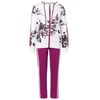 Floral Print Jacket and Striped Pants Twinset