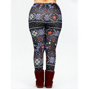 Christmas Plus Size Fair Isle Leggings - BLACK XL
