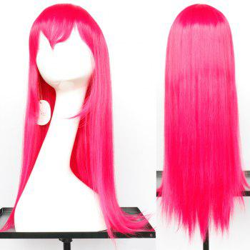 Oblique Bang Long Glossy Straight Synthetic Cosplay Anime Wig