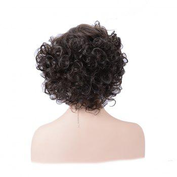 Shaggy Short Side Parting Layered Curly Human Hair Wig - DEEP BROWN