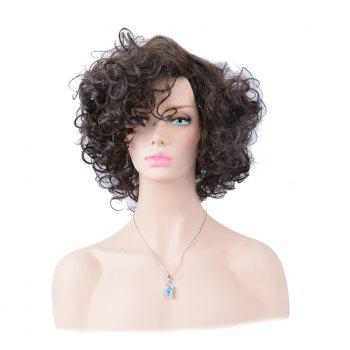 Shaggy Short Side Parting Layered Curly Human Hair Wig