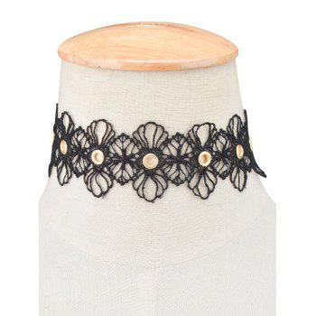 Openwork Lace Floral Choker Necklace - BLACK