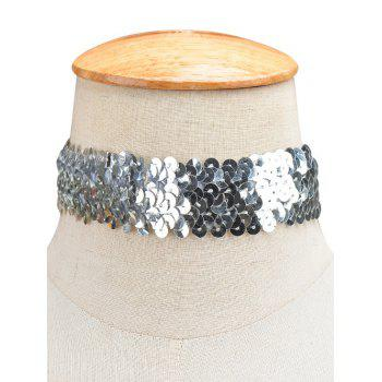 Statement Sequin Wide Choker Necklace