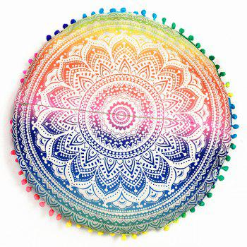 Mandala Flower Print Pompon Round Throw Covers - COLORFUL ONE SIZE
