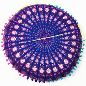 Mandala Feather Print Pompon Round Floor Cushion Pillow Case - DEEP PURPLE ONE SIZE
