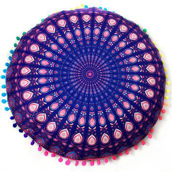Mandala Feather Print Pompon Round Floor Cushion Pillow Case