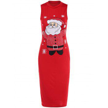Sleeveless Santa Clause Print Midi Tank Dress