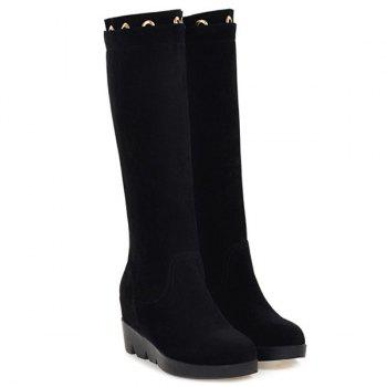 Hidden Wedge Eyelet Mid Calf Boots - BLACK 39