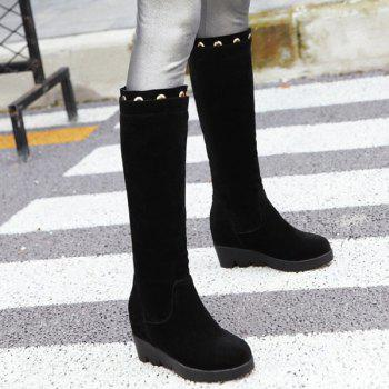 Hidden Wedge Eyelet Mid Calf Boots - BLACK BLACK