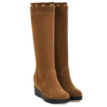Hidden Wedge Eyelet Mid Calf Boots - 39 39