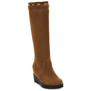 Hidden Wedge Eyelet Mid Calf Boots - BROWN 38