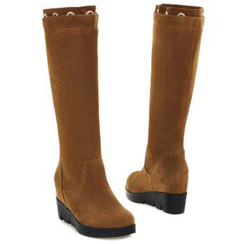 Hidden Wedge Eyelet Mid Calf Boots - BROWN BROWN