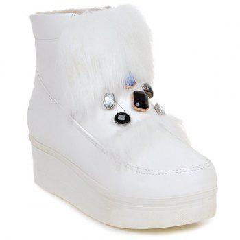 Buy Platform Rhinestone Faux Fur Ankle Boots WHITE