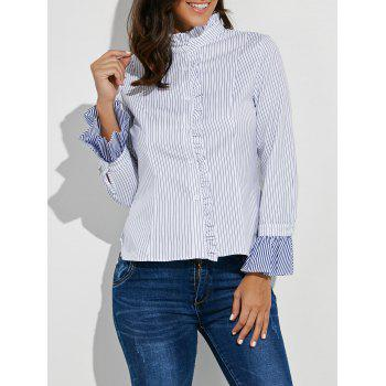 Button Up Ruffle Stripe Shirt
