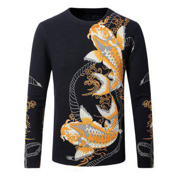 3D Kois Pattern Thicken Long Sleeve Sweater