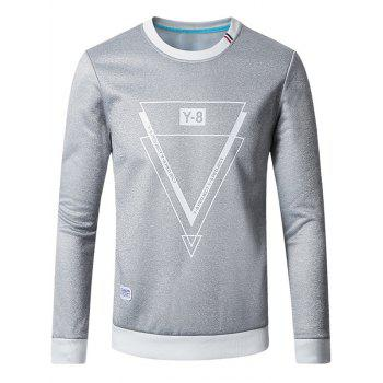 Inverted Triangle Print Flocking Sweatshirt