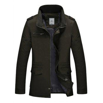 Epaulet Design Stand Collar Pocket Zippered Jacket