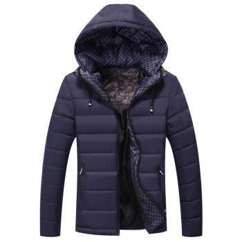 Drawstring Hooded Zip Pocket Padded Jacket
