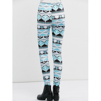 High Waist Stretchy Geometric Print Leggings - S S