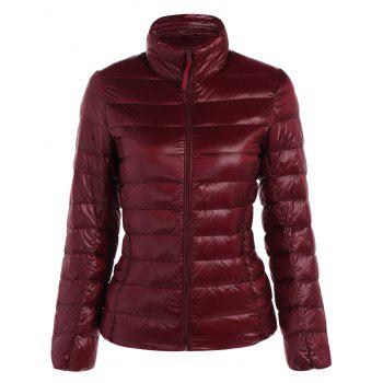 Zip Up Stand Collar Quilted Winter Jacket