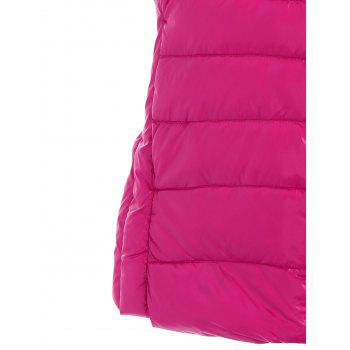 Padded Zip Up Vest with Stand Collar - ROSE RED ROSE RED
