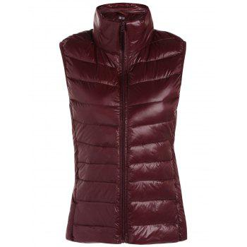 Padded Zip Up Vest with Stand Collar