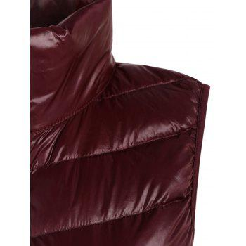 Padded Zip Up Vest with Stand Collar - CLARET CLARET