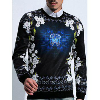 Long Sleeve Floral Key Print Sweatshirt
