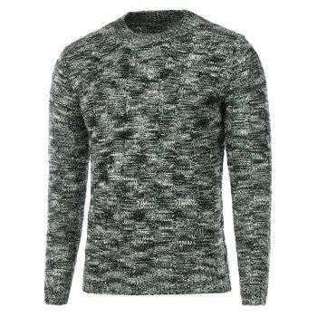 Crew Neck Weave Pattern Knitted Sweater