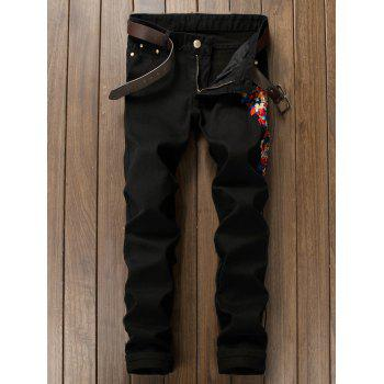 Buy Zipper Fly Floral Embroidered Narrow Feet Jeans BLACK