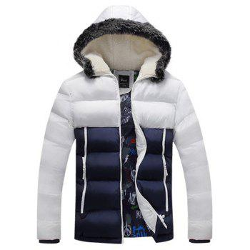 Flocking Zip Up Color Block Down Jacket