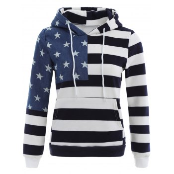 Buy American Flag Print Drawstring Hoodie PURPLISH BLUE