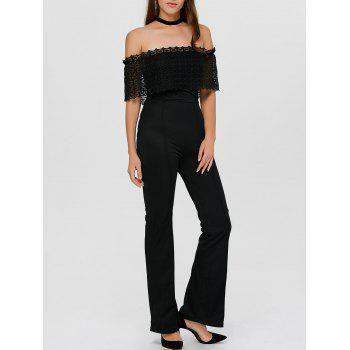 Lace Insert Off The Shoulder Bootcut Jumpsuit