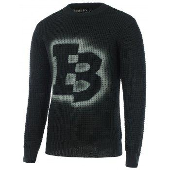 Texture Knitted Crew Neck Graphic Sweater - BLACK BLACK
