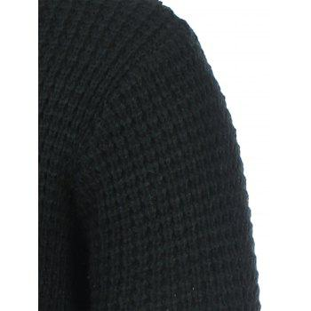 Texture Knitted Crew Neck Graphic Sweater - L L