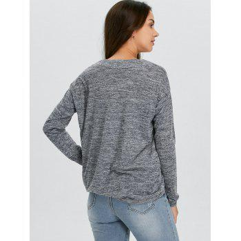 V-Neck Long Sleeve Knitted Tee - GRAY GRAY