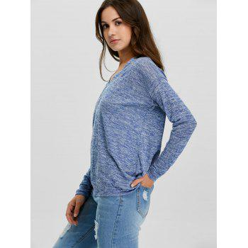 V-Neck Long Sleeve Knitted Tee - S S