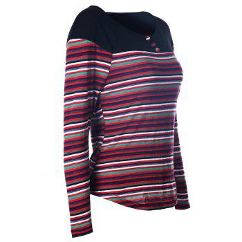 Multicolor Stripe Long Sleeve Tee - RED S