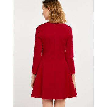 Fit and Flare Openwork Dress - RED RED