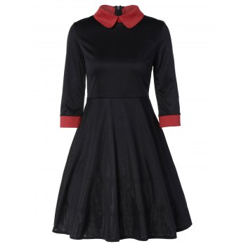 Panel Peter Pan Collar Midi Swing Dress