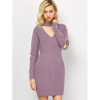 Choker Neck Mini Sweater Dress