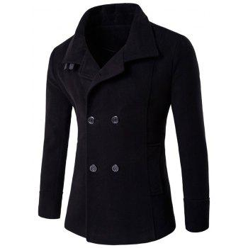Stand Collar Belt Design Woolen Blends Coat