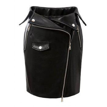 Zip-Up PU Leather Bodycon Skirt