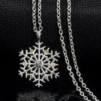 Rhinestoned Snowflake Pendant Necklace