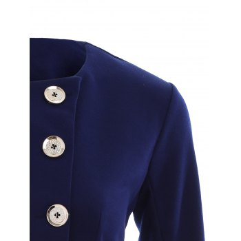 Asymmetric Button Up Blazer - PURPLISH BLUE PURPLISH BLUE